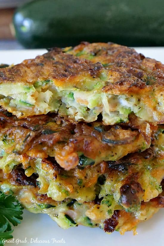 Vegetable patties stacked one on top of the other.
