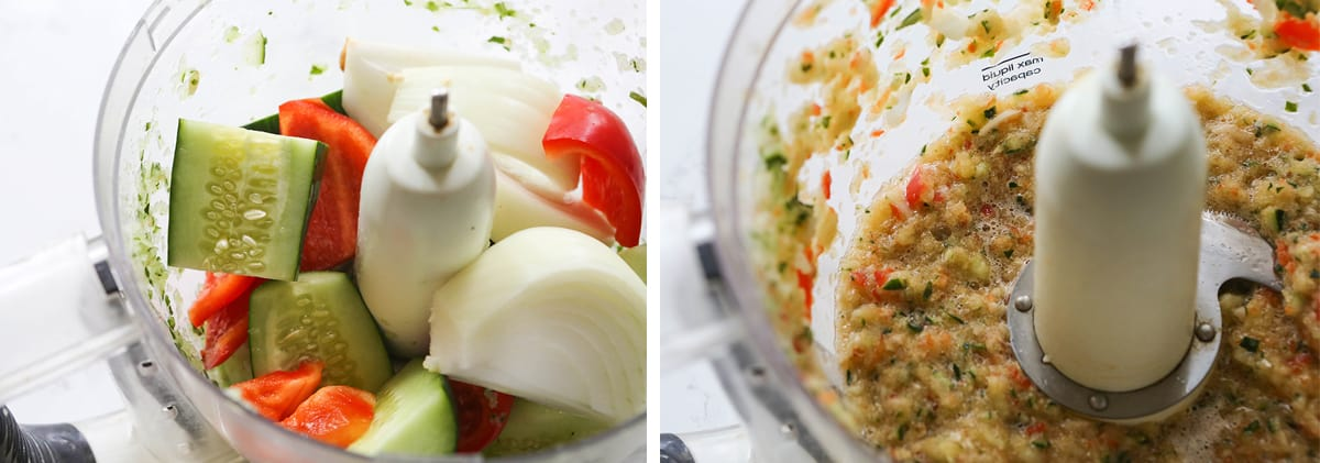 Veggies in a food processor, both unmixed and after processing.