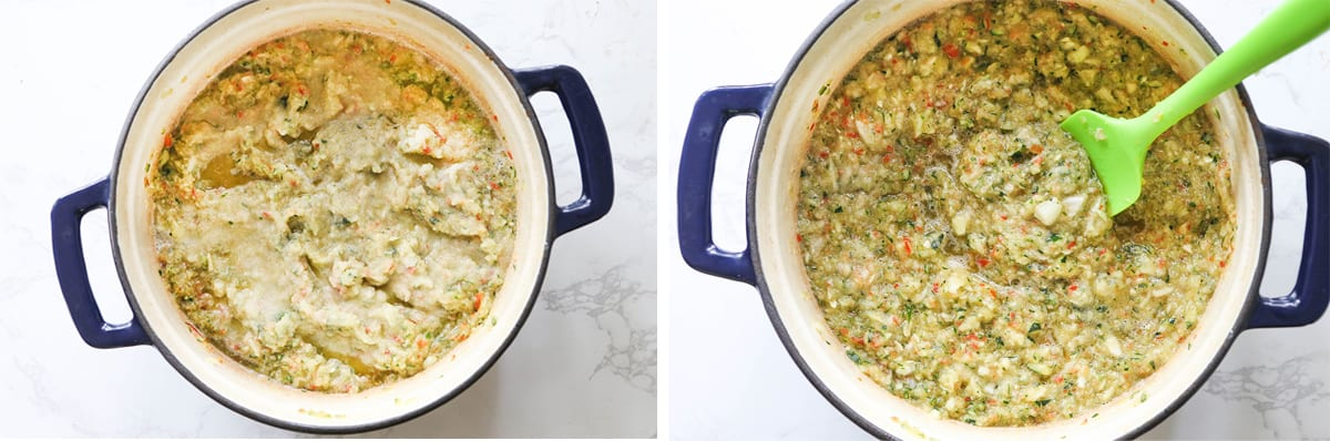 Relish mixture in a Dutch oven with salt sprinkled over the top.